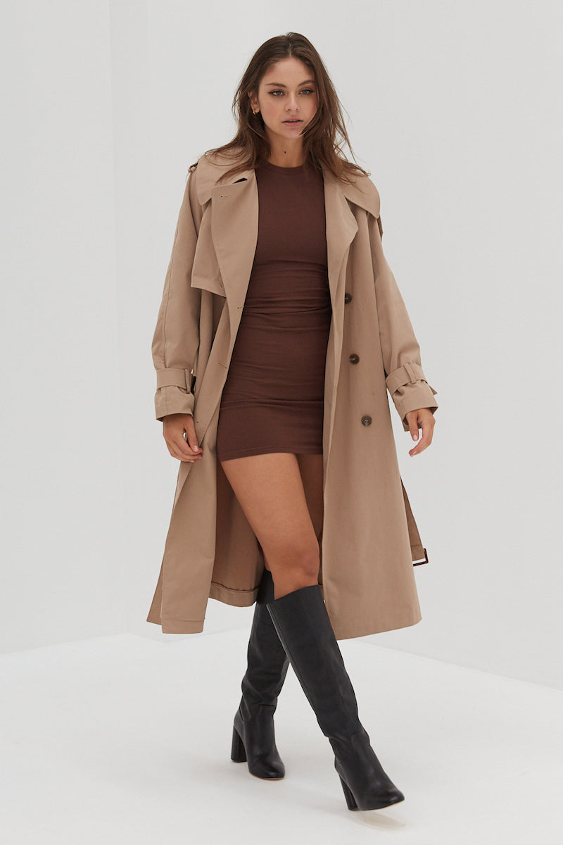 Long Sleeve Ribbed Knit Dress - Chocolate