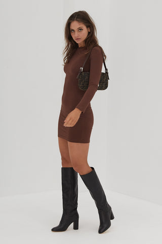 Long Sleeve Ribbed Dress - Taupe