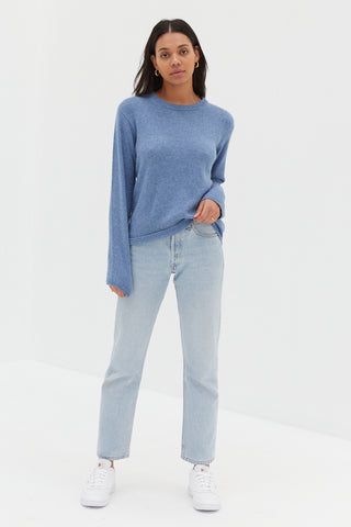 Long Sleeve Ribbed Top - Baby Blue