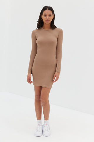 Brown Long Sleeve Ribbed Dress