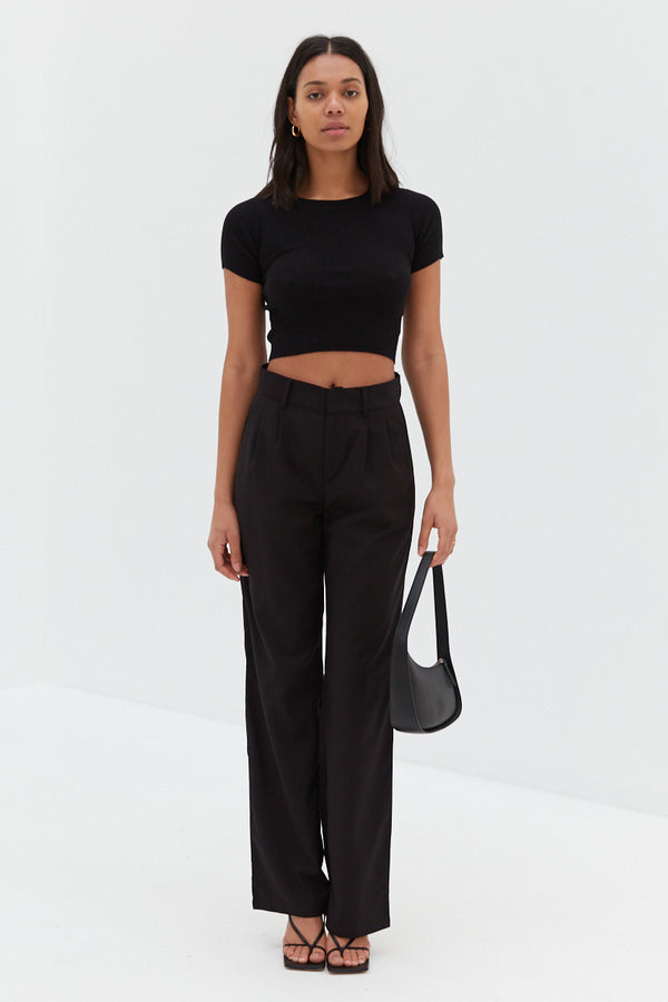 Ribbed Crop Top - Black