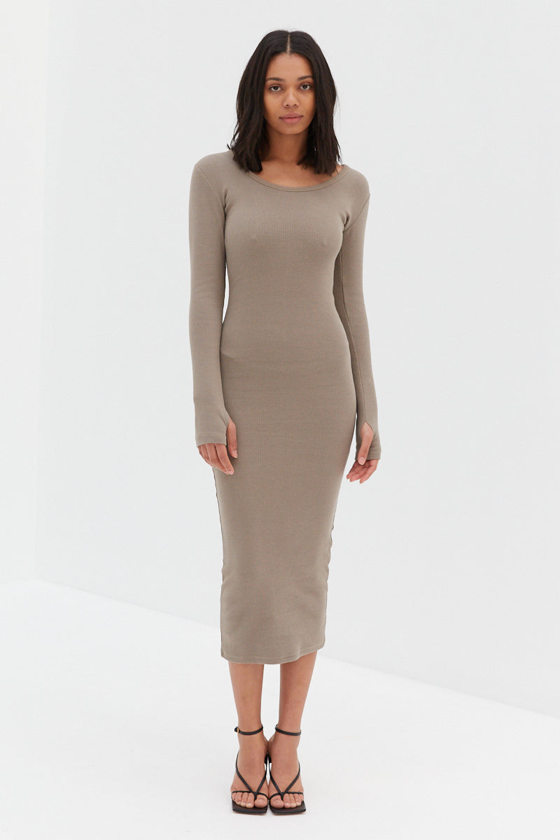 Ribbed Midi Dress - Taupe