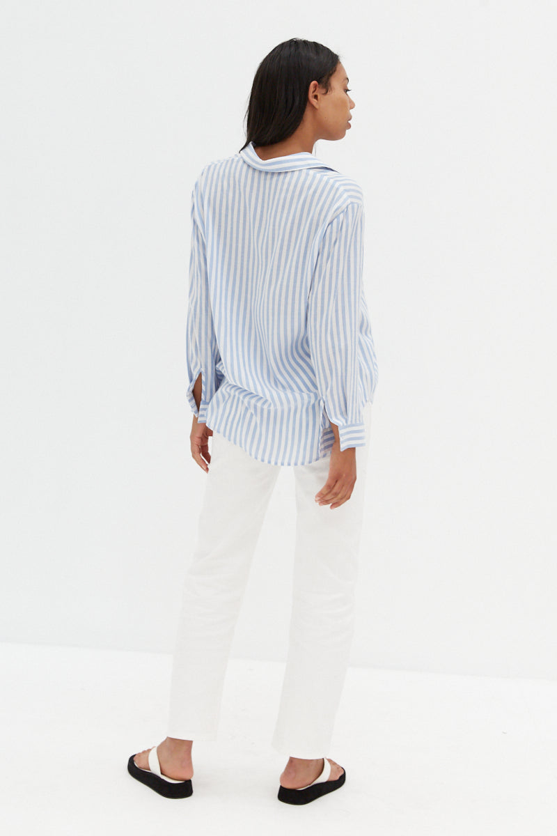 Amalfi Top - Blue & White Stripe