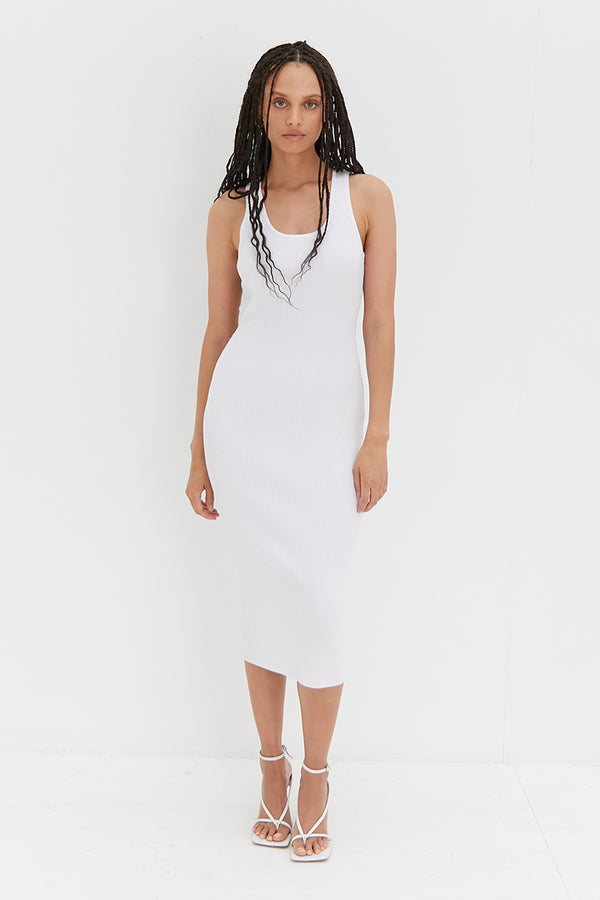 Knit Backless Dress - White