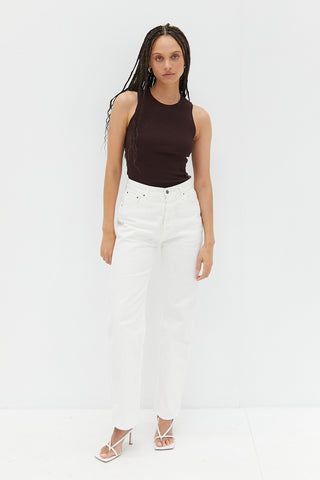 Ribbed Singlet Crop - White