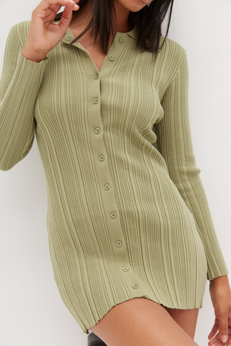 Collared Shirt Dress - Sage