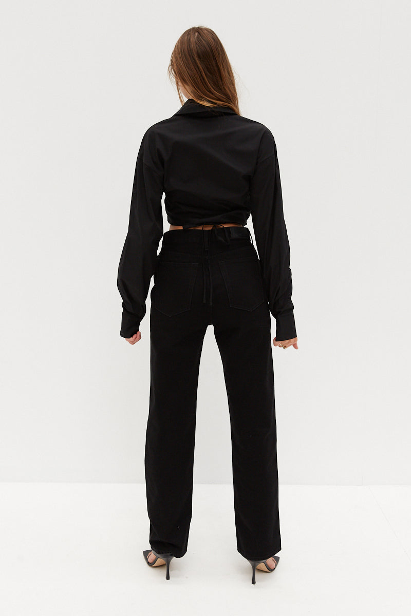 Crop Tie Shirt - Black
