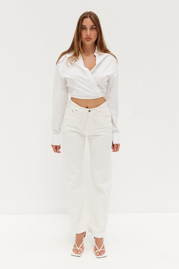 Crop Tie Shirt - White