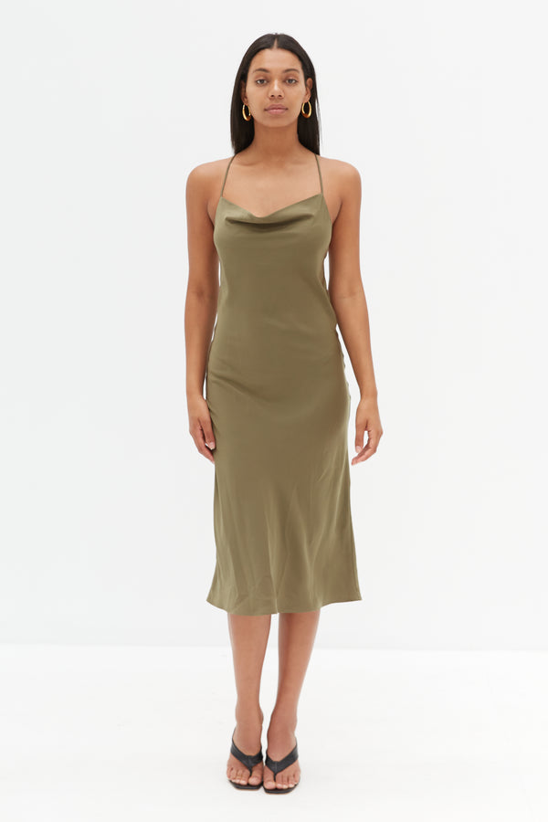 Cross Back Slip Dress - Khaki