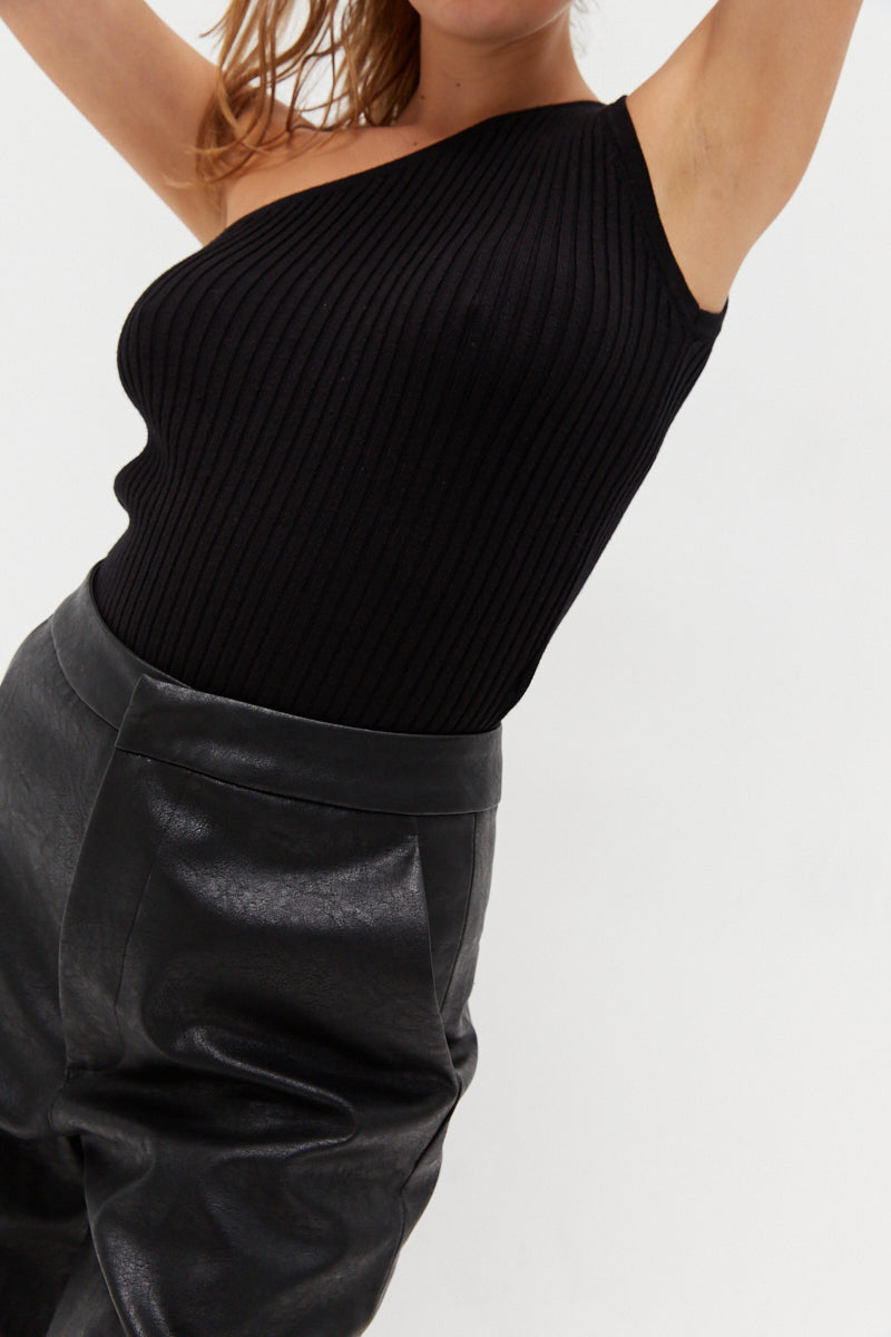One Shoulder Knit Top - Black