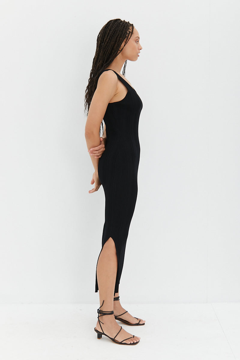 Knit Midi Dress - Black