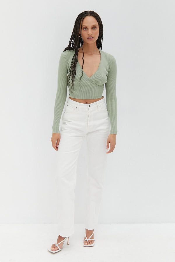 Knit Wrap Top - Seafoam