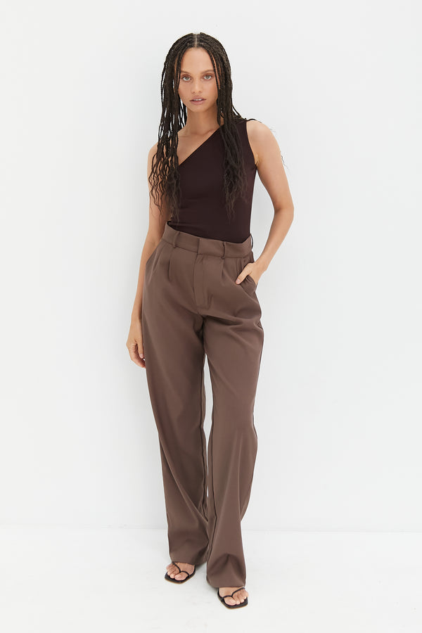 One Shoulder Bodysuit - Cocoa