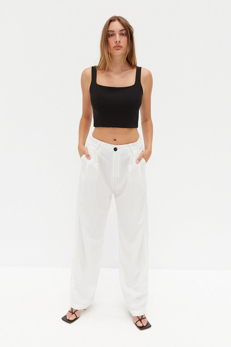 Pinstripe Pants - White
