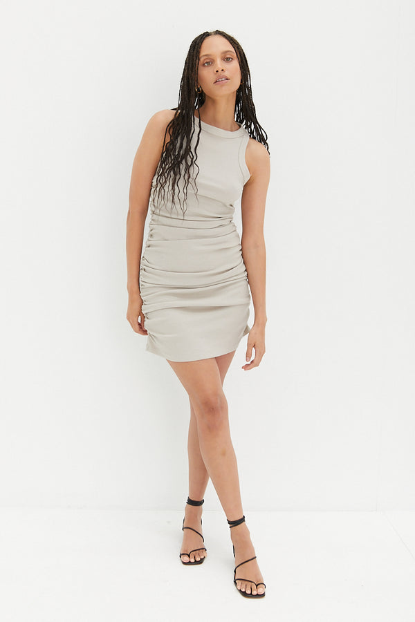 Ruched Dress - Taupe