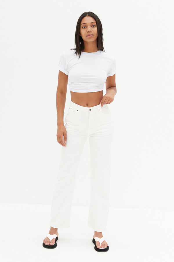 Side Ruche Crop - White