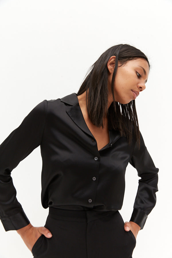 Satin Shirt - Black