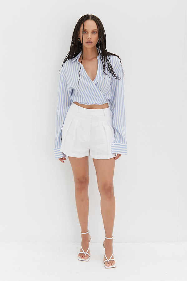 Crop Tie Shirt - Stripe