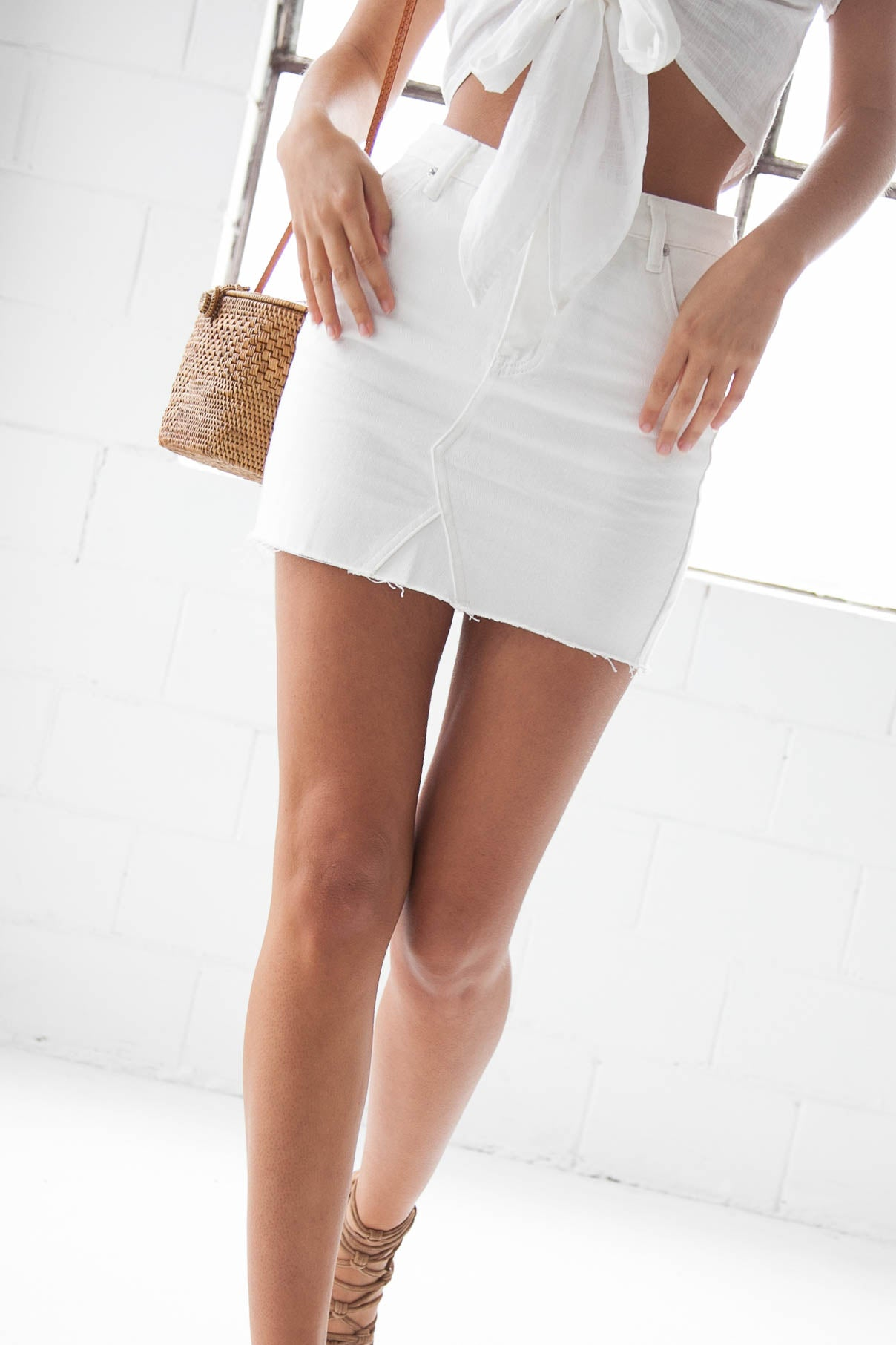 Elsa Skirt - White Denim - Style Addict