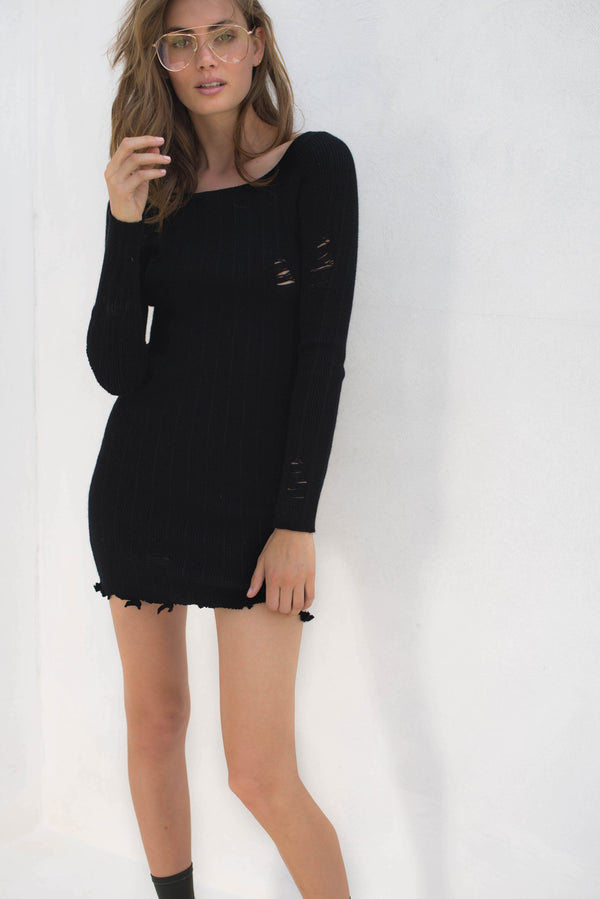 Faye Knit Dress - Black - Style Addict