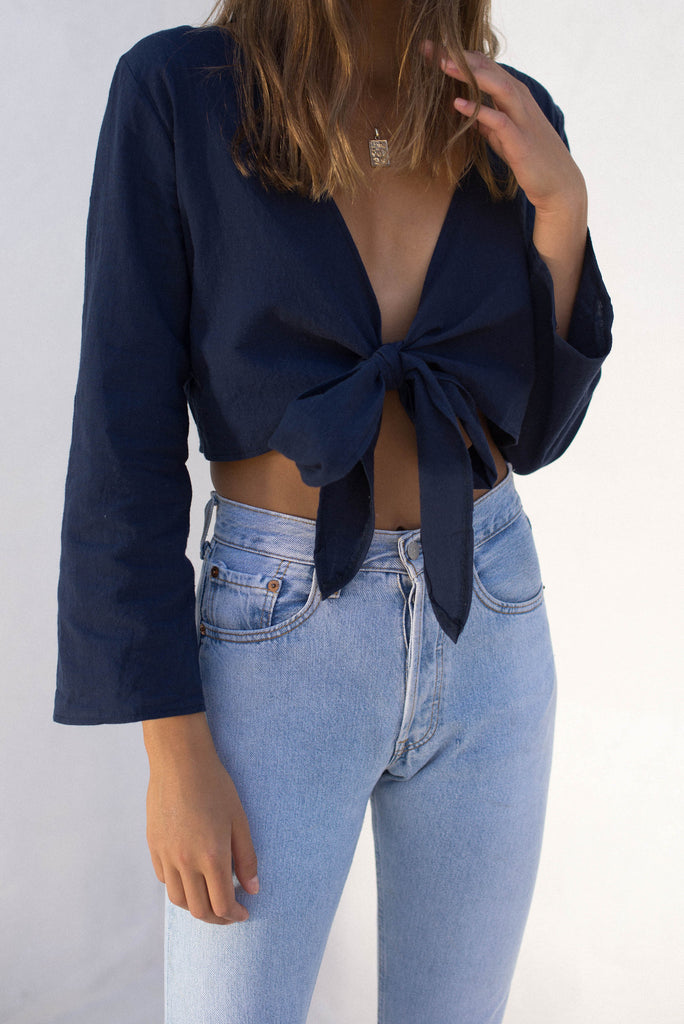 Cleo Wrap Top - Navy