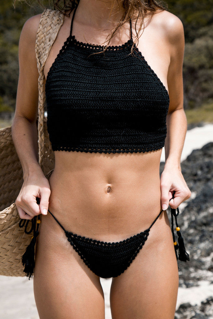 Sun Chaser Crochet Crop - Black