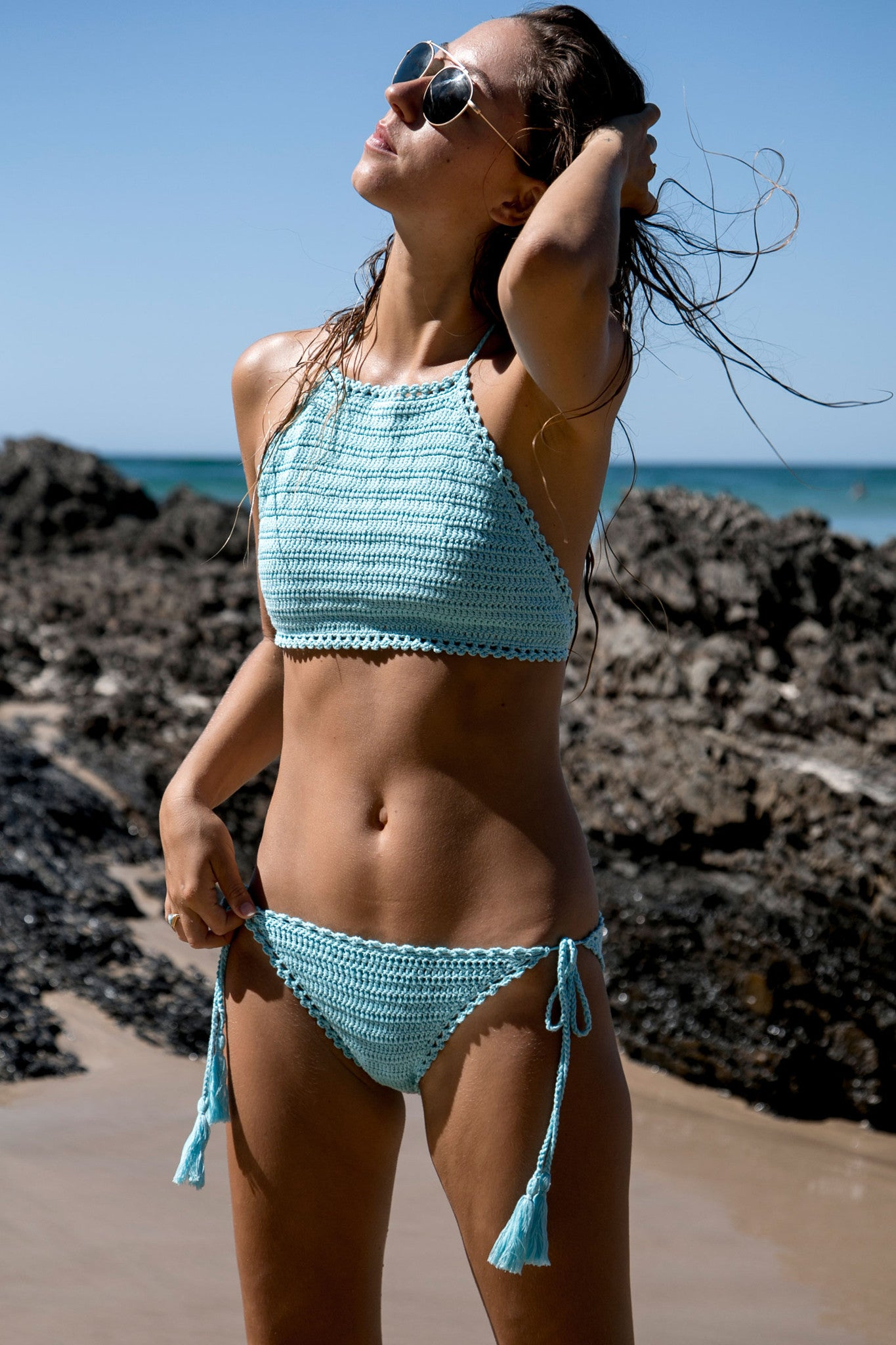 Sun Chaser Crochet Crop - Turquoise - Style Addict