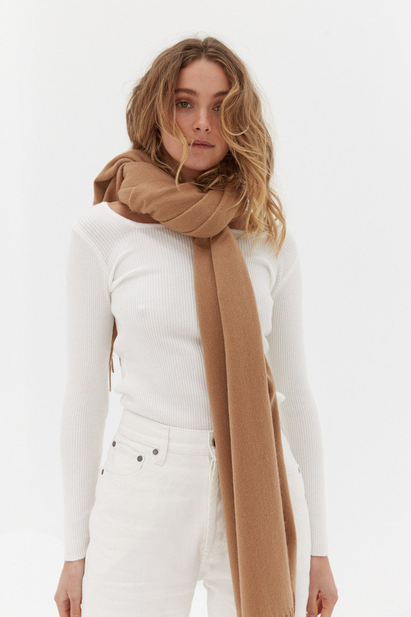 Wool Scarf - Tan