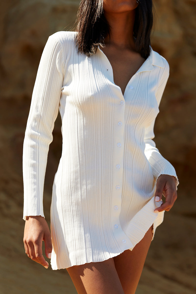 Collared Shirt Dress - White