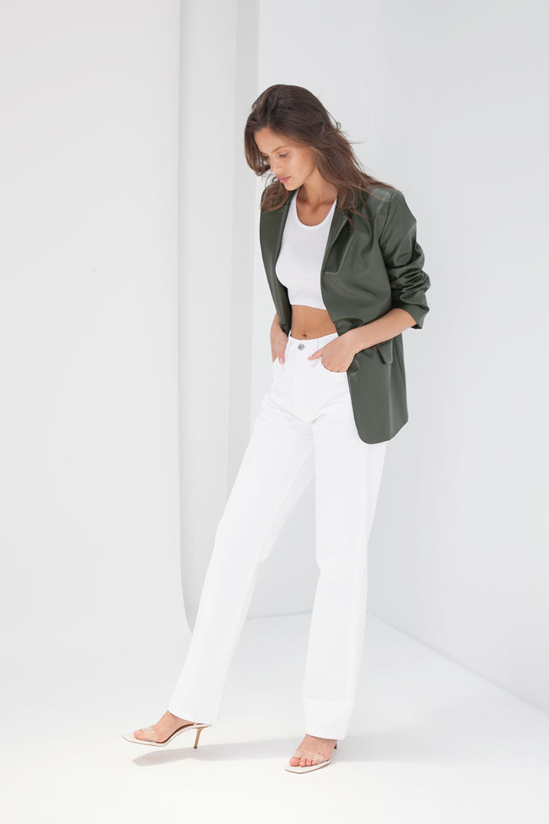 Emily Blazer - Faux Leather Forest