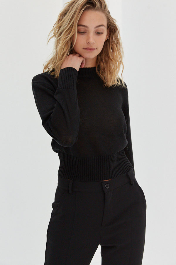 Semi Sheer Knit Top - Black