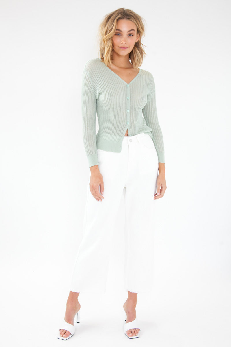 Semi Sheer Cardigan - Mint