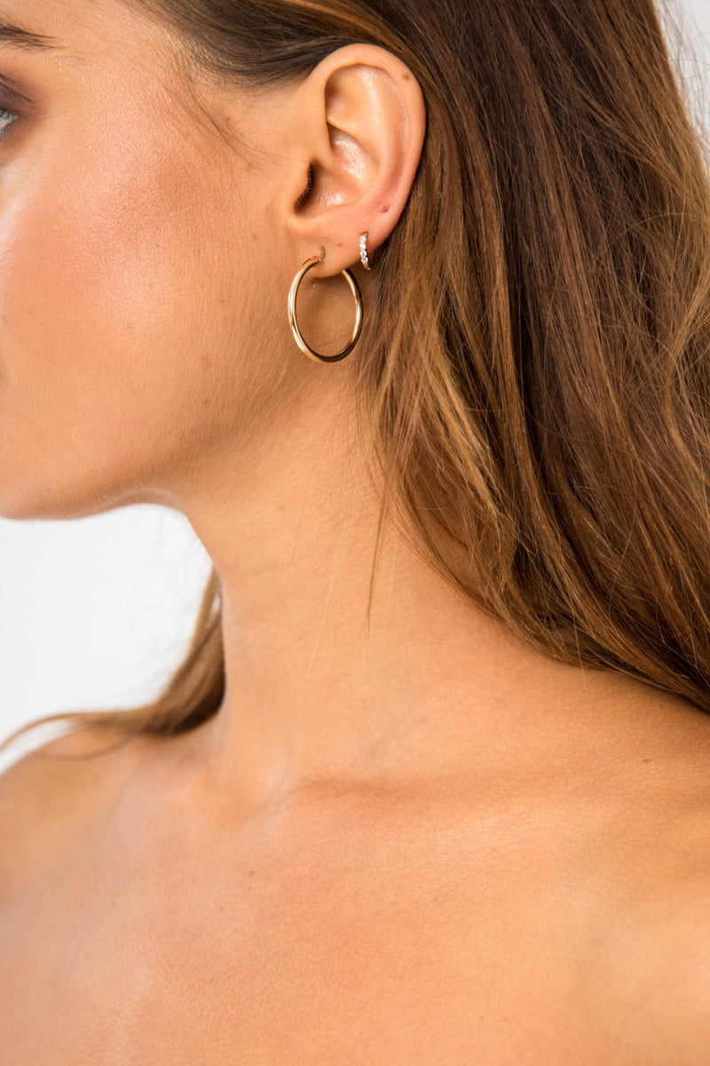 Medium Gold Hoops - 14K Gold Plated