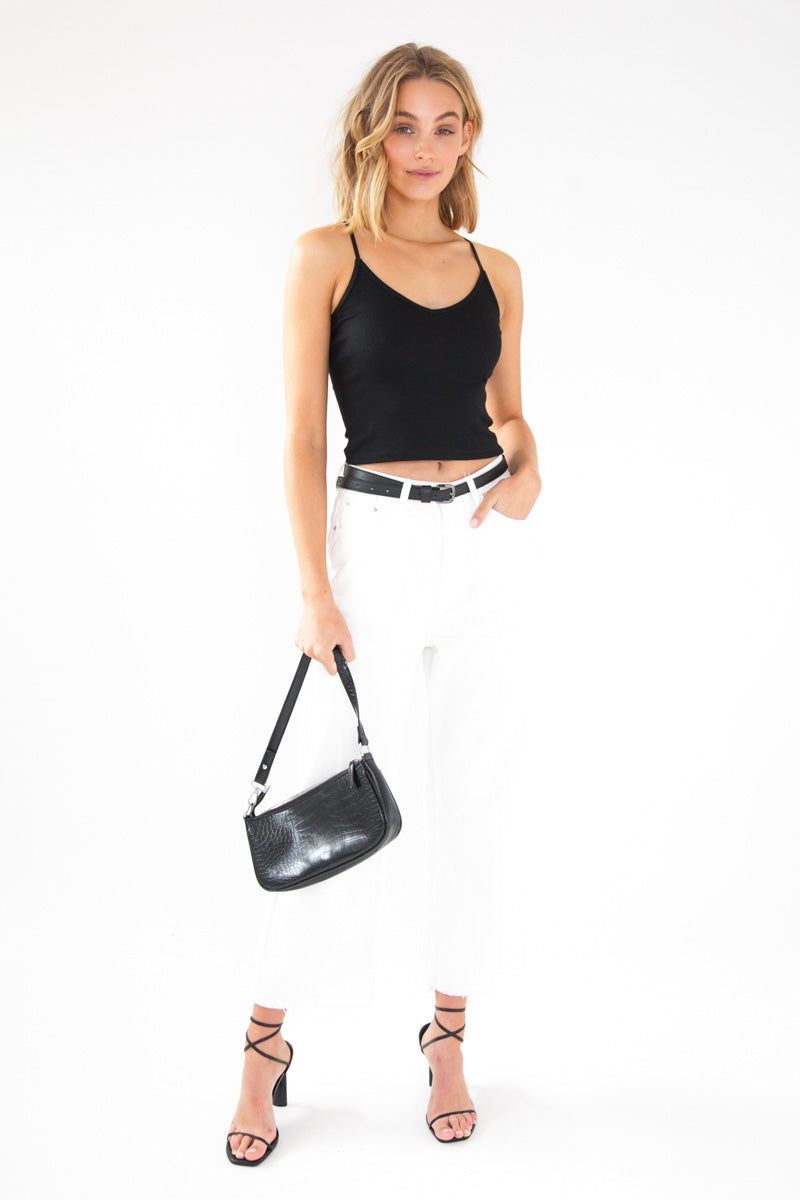 Ribbed Singlet Crop - Black