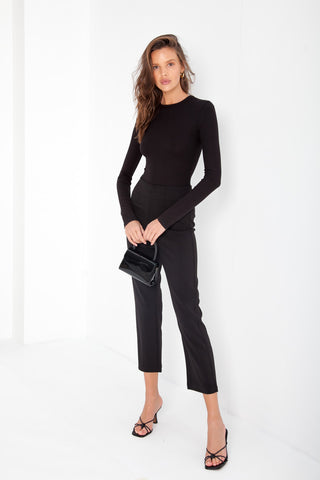 Long Sleeve Shirt Bodysuit - Black