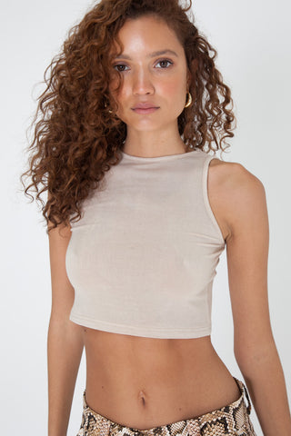 Mock Neck Crop - White