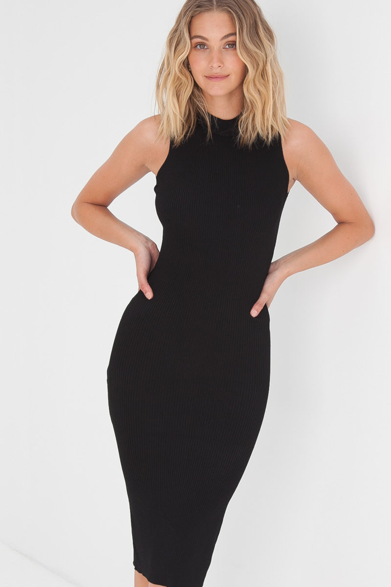Knitted Crossback Dress - Black