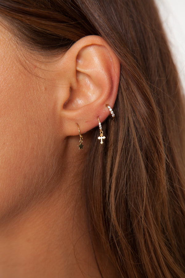 Mini Cross Earrings - 14K Gold Plated
