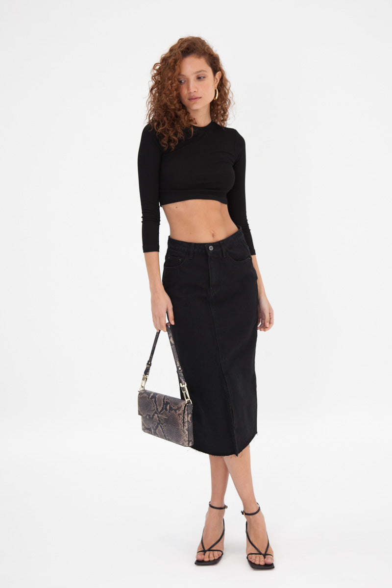 Denim Frayed Midi Skirt - Black