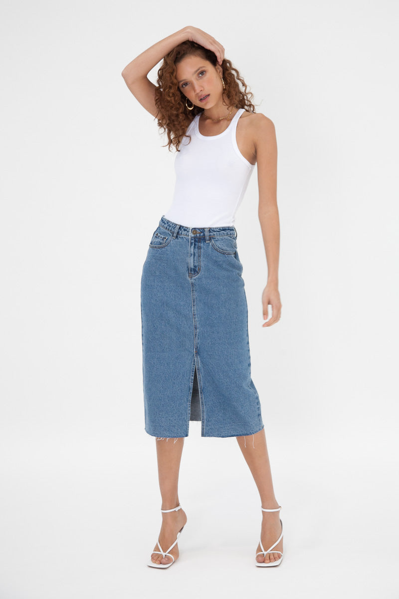 Denim Frayed Midi Skirt