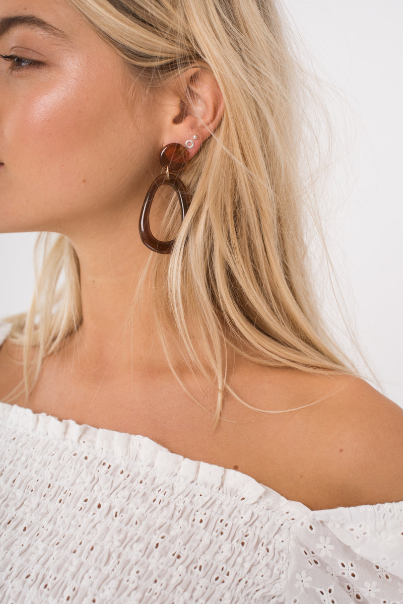 Nicola Earrings - Tortoise Shell