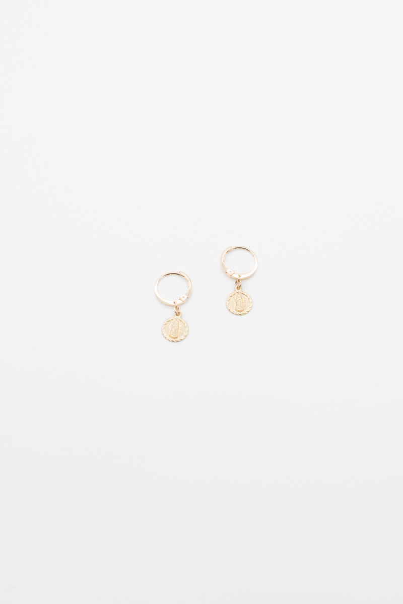 Mini Saint Pendant Earrings - 14K Gold Plated