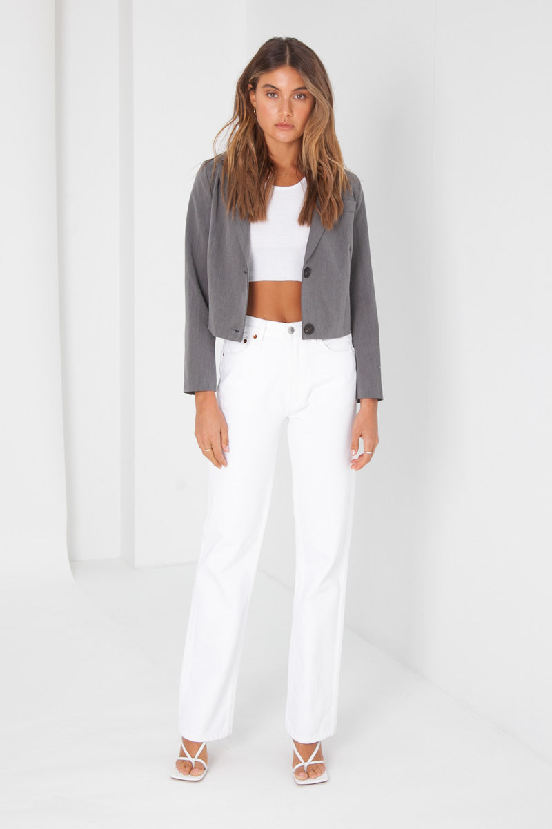 Ella Crop Blazer - Grey