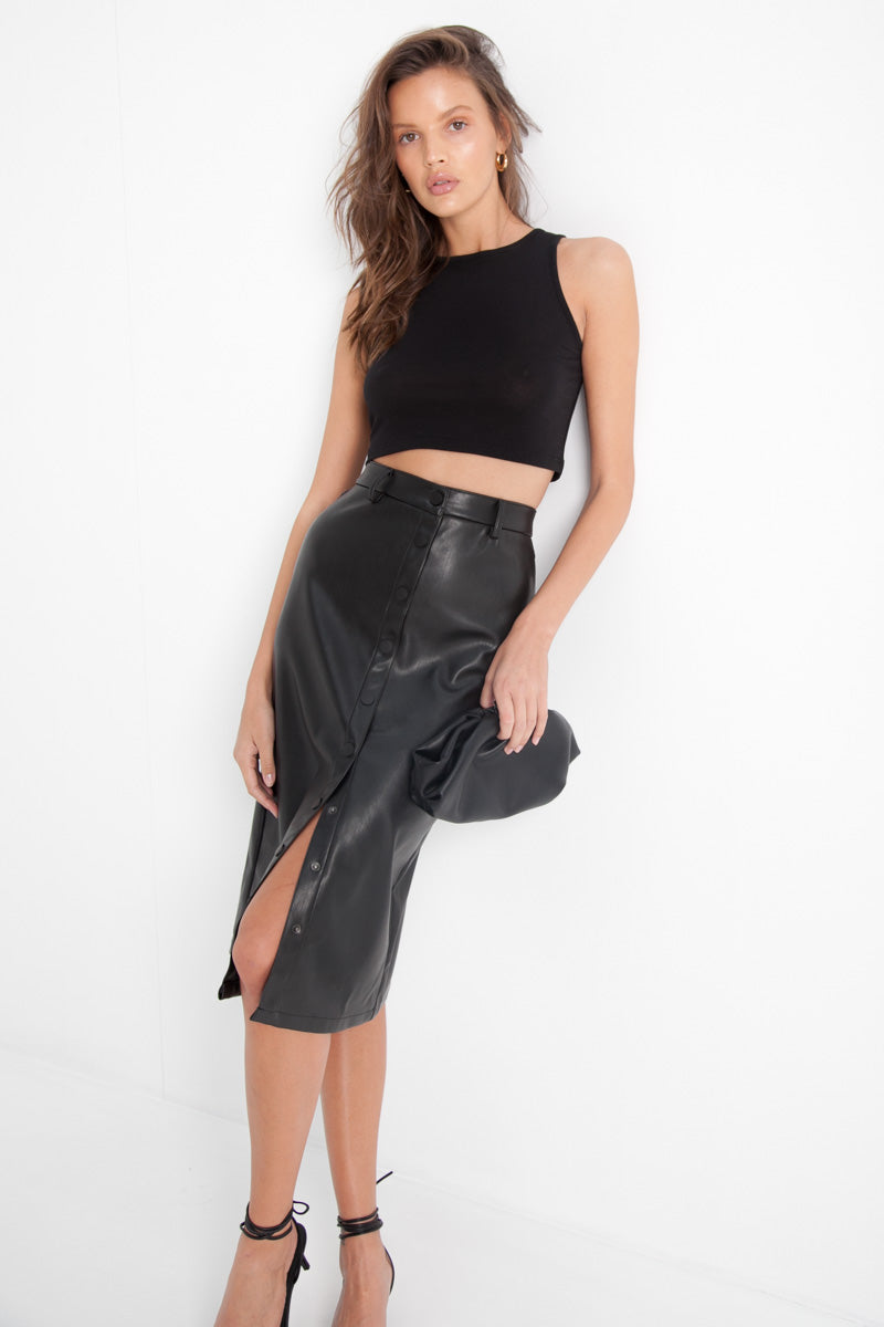 Faux Leather Midi Skirt - Black