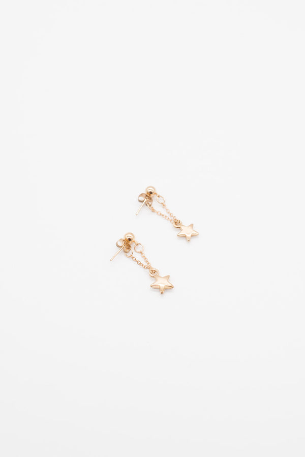 Star Drop Earrings- Gold