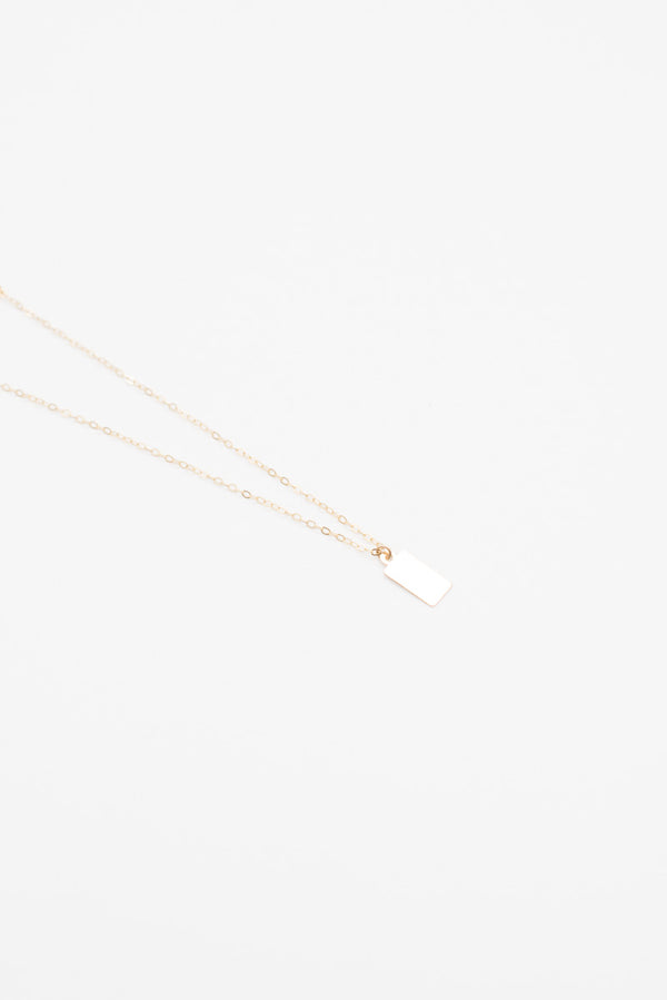 Mini Tag Necklace - 14K Gold