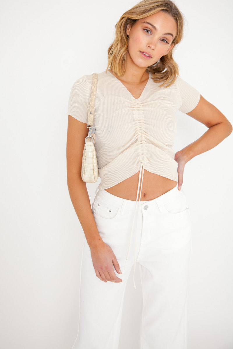 Haley Short Sleeve Top - Nude