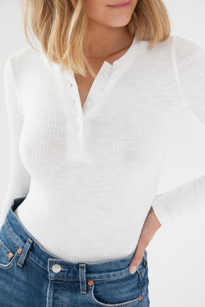 Henley Top - White