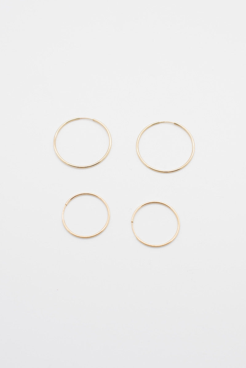 Thin Small Hoops - Gold Plated