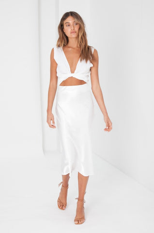 Ribbed Knit Tube Top - White